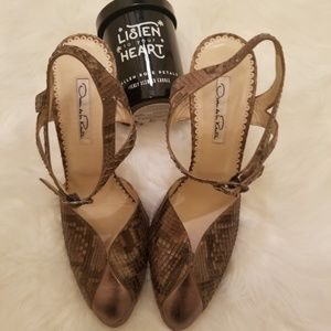 Snake Skin Leather Oscar de Renta heels size 10